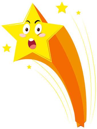 Star with shocking face illustration Illustration