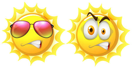 facial   expression: Sun with facial expression illustration Illustration