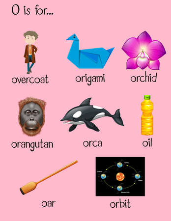 overcoat: Many words begin with letter O illustration