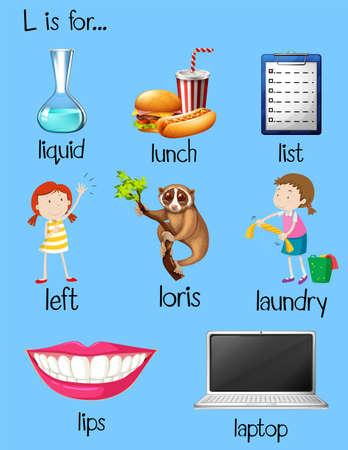 begin: Many words begin with letter L illustration