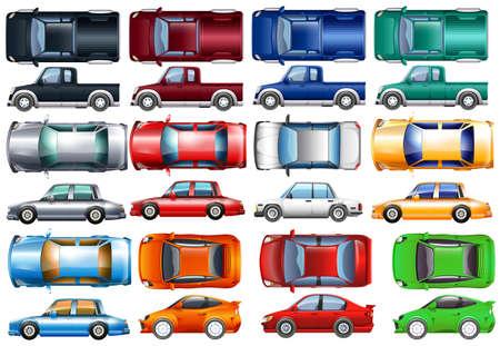 Set van auto's en vrachtwagens in vele kleuren illustratie