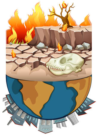 Polution on earth and drought illustration Illustration