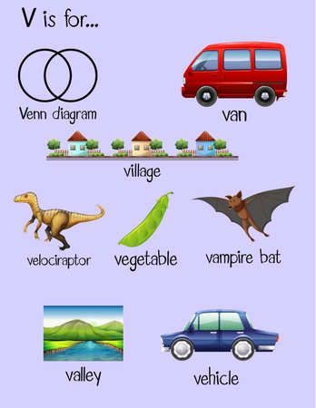 english village: Many words begin with letter V illustration