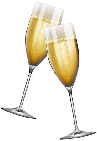 Deux verres de champagne sur blanc illustration