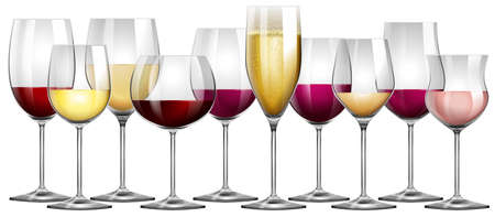 Wine glasses filled with red and white wine illustration Illustration