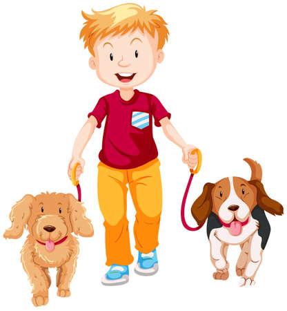 Boy walking two dogs illustration