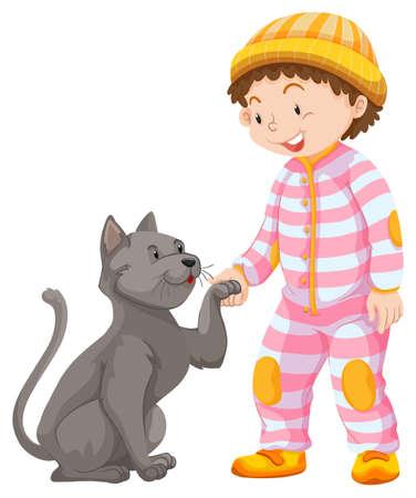 pet cat: Little boy with pet cat illustration