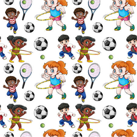 hulahoop: Seamless background with kids doing sports illustration