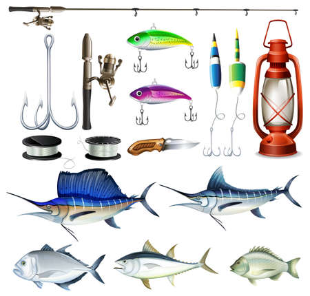 bream: Fishing set with equipment and fish illustration