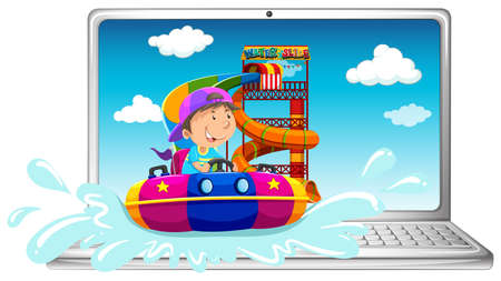 water slide: Computer screen with boy on water slide illustration