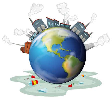 mundo contaminado: edificios de la fábrica y la contaminación de la tierra ilustración