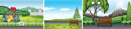 lawn chair: Three scenes of public park illustration