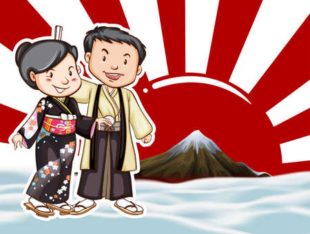 moutain: Japanese couple with moutain view background illustration
