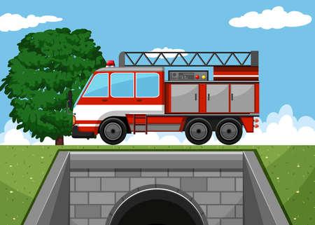 voiture de pompiers: Camion de pompiers sur l'illustration de la route