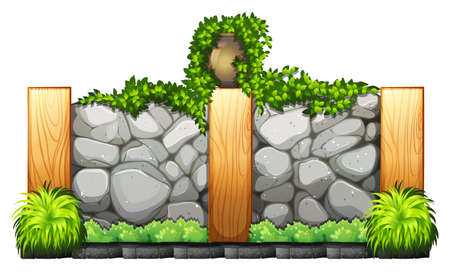 stone wall: Fence made of bricks and wood illustration