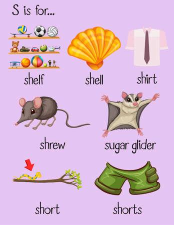 Many words begin with letter S illustration Illustration