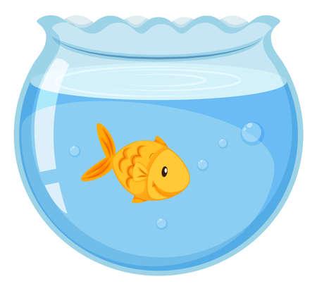 Goldfish swimming in the glass bowl illustration Illustration