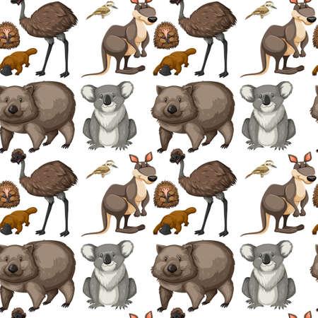 emu: De fondo sin fisuras con los animales australianos ilustración