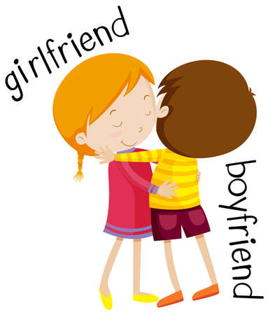 boyfriend: Girlfriend and boyfriend hugging illustration Illustration