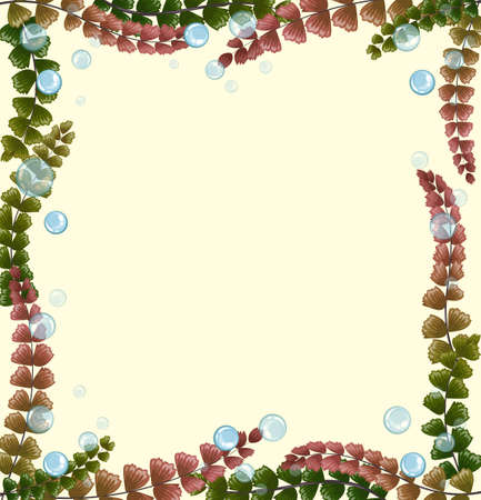 seaweeds: Frame design with seaweeds and bubbles illustration Illustration