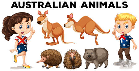 Set of Australian wild animals  illustration