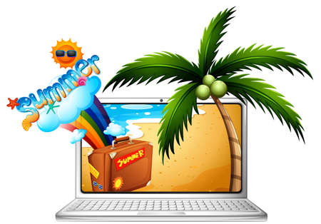 Computer screen with summer on the beach illustration