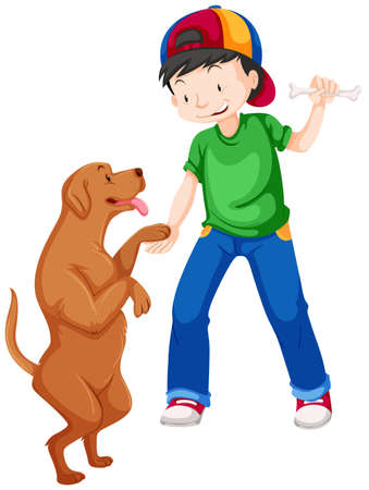 dogs play: Little boy playing with pet dog illustration Illustration