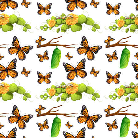 butterfly flower: Seamless background with butterflies and leaves illustration