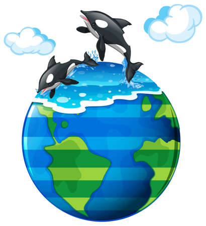 Two killer whales swimming in the sea illustration Illustration