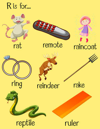 phonetics: Many words begin with letter R illustration