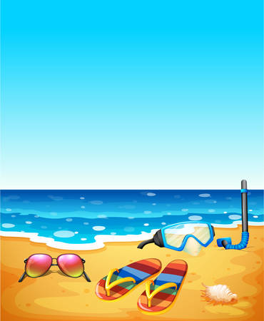 Nature scene with beach and sea illustration Illustration