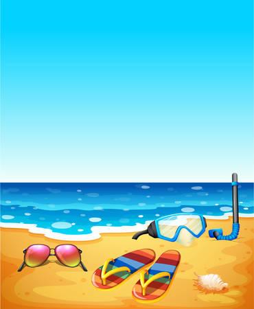 Nature scene with beach and sea illustration Illustration