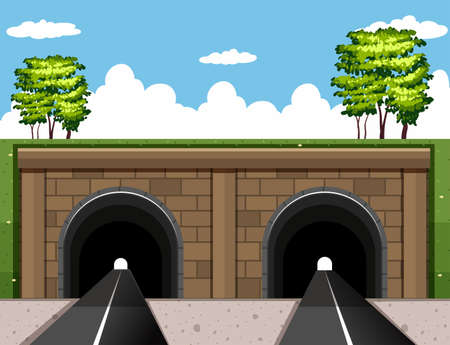 highway tunnels: Two tunnels on the road illustration