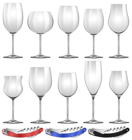 alcohol series: Wine glasses and can openers illustration