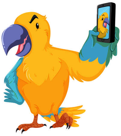 taking picture: Parrot taking picture with cellphone illustration
