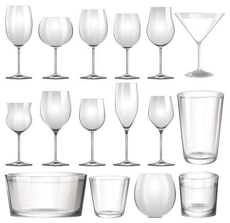 glass cup: Set of wine glasses and cups illustration