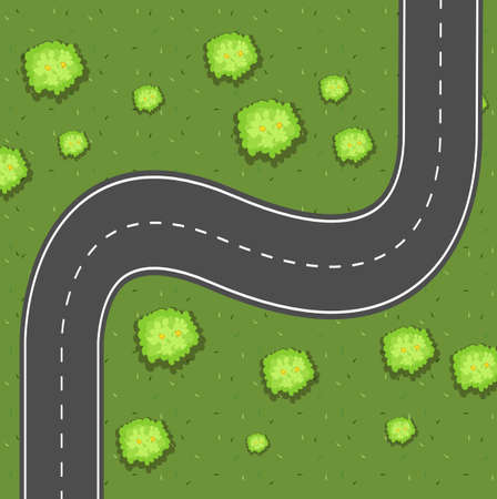 express lane: Aerial view of road on the green land illustration Illustration