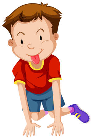 adolescent boy: Little boy with silly face illustration