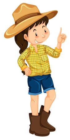 big hat: Little girl with big hat and boots illustration Illustration