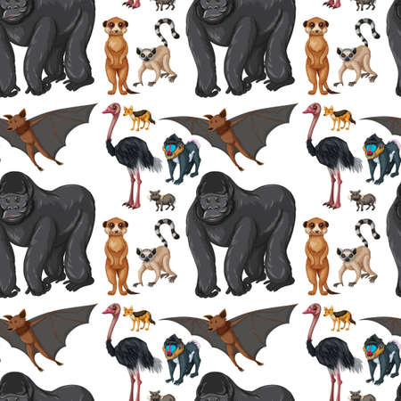 baboon: Seamless background with wild animals illustration Illustration