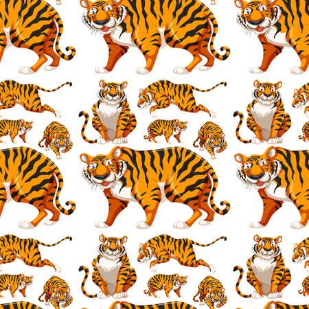Fondo transparente con la ilustración de muchos tigres