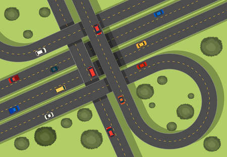 express lane: Aerial scene with roads and cars illustration