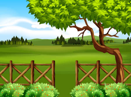 Nature scene with tree and field illustration