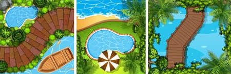 bridge in nature: Three scenes with bridge and pond illustration