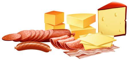 fiambres: Queso y diferentes tipos de productos cárnicos ilustración Vectores