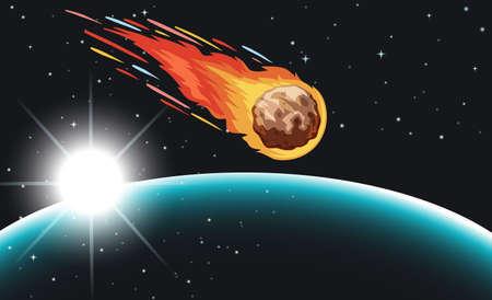 comet: Comet flying in the space illustration Illustration