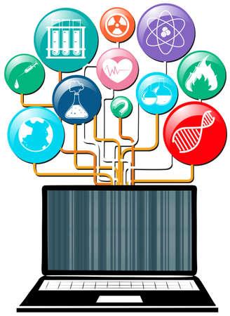 science symbols: Computer laptop and science symbols illustration