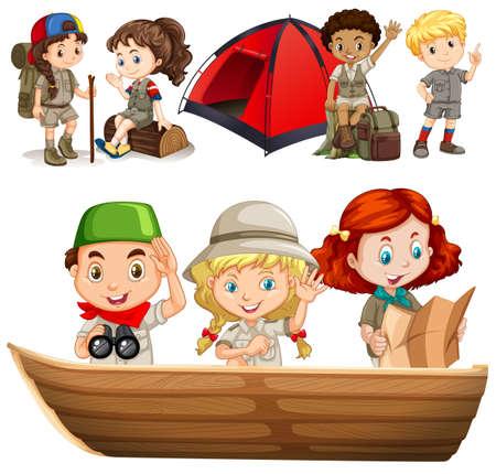 campamento: Los niños y las niñas con equipo de campamento ilustración