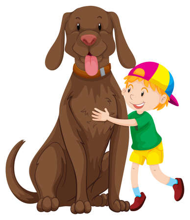 big dog: Little boy and big dog illustration