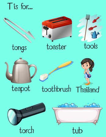 Many words begin with letter T illustration Illustration